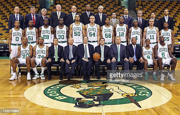 The Celtics players, coaches, owners, and assorted other personnel posed for the annual team photo a couple of hours before the game. The Boston...