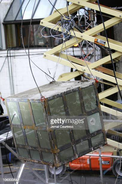 The cementbound cube in which Criss Angel spent 24 hours shackled and bound pictured just seconds before impact after being dropped from a crane 50...