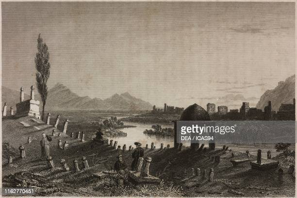 The cemetery and the walls of Antioch in the center the Orontes river Turkey engraving by F J Havell after a drawing by W H Bartlett from La Siria e...