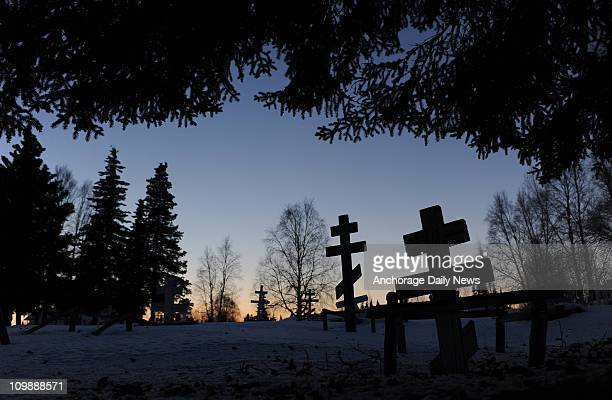 The cemetery at the St Nicholas Russian Orthodox Church at the Nikolai checkpoint during the 2011 Iditarod Trail Sled Dog Race on Tuesday March 8 2011
