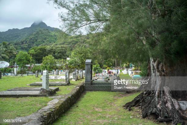The cemetery of The Cook Island Christian Church in Avarua, Rarotonga, The Cook Islands. Rarotonga is the capital and the most populous island of the...