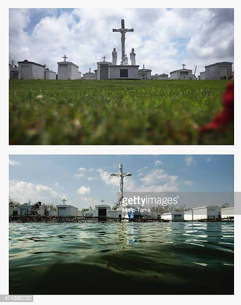 The cemetery outside Saint Patrick's Church stands in Plaquemines Parish on May 16 2015 in Port Sulphur Louisiana The tenth anniversary of Hurricane...