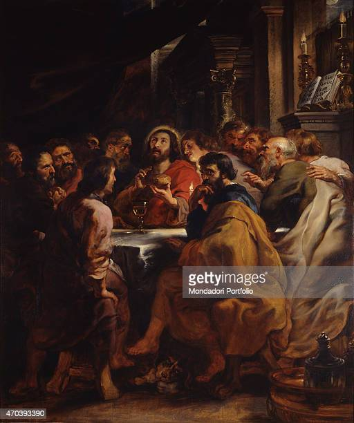 'The Cenacle by Peter Paul Rubens 16301632 17th Century oil on panel Italy Lombardy Milan Brera Art Gallery Whole artwork view Jesus and the Twelve...