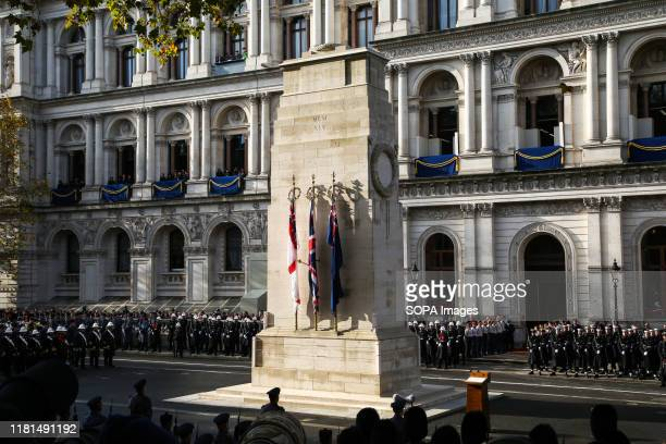 The Cenotaph memorial, in Whitehall, London during the annual Remembrance Sunday.