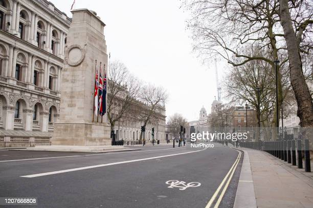The Cenotaph memorial stands on a near-deserted Whitehall in London, England, on March 19, 2020. Amid the ongoing covid-19 coronavirus crisis the...