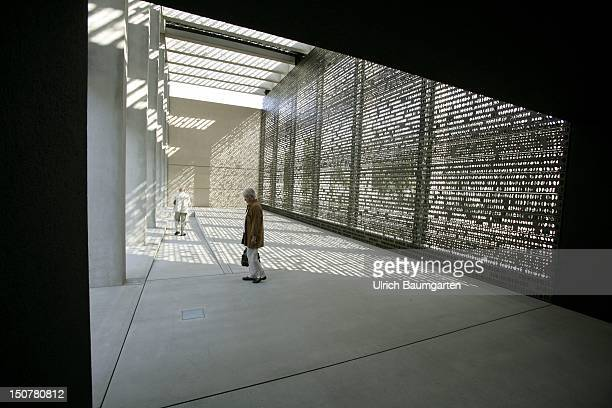 The cenotaph of Bundeswehr, the German Federal Armed Forces on the area of the Ministry of Defense in Berlin, Bronze wall with blanked out...