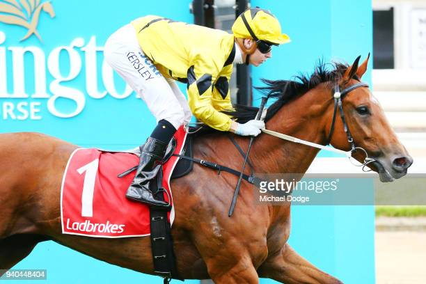 The Centaurian ridden by Fred Kersley wins the Robert Fitzgerald Memorial Nepean Glass Screens at Mornington Racecourse on April 01 2018 in...