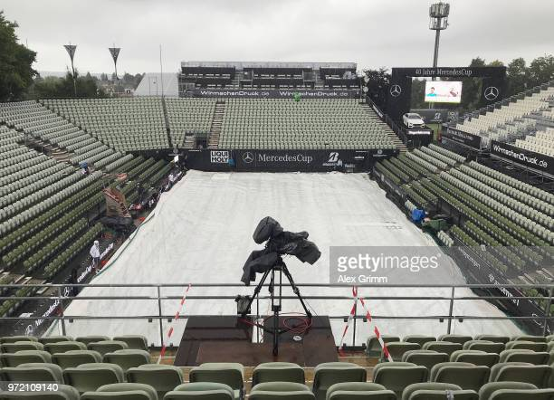 The Center Court is covered under a canvas due to heavy rain during day 2 of the Mercedes Cup at Tennisclub Weissenhof on June 12 2018 in Stuttgart...