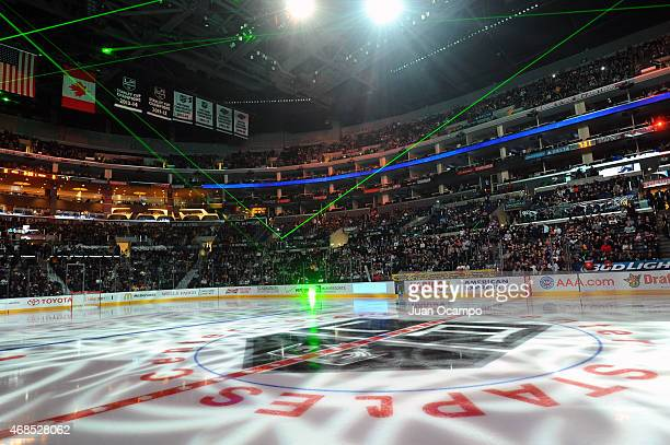 The center ice logo of the Los Angeles Kings is seen before a game between the Los Angeles Kings and the Edmonton Oilers at STAPLES Center on April...
