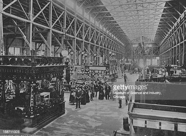 The central aisle of the Forestry Building and an exhibit of wooden wares at the World's Columbian Exposition in Chicago Illinois 1893 This image was...