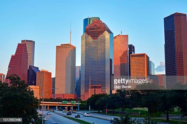 The Central business district and skyline of Houston at dusk