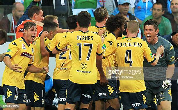 The Central Coast Mariners celebrate the goal by John Hutchinson during the round six ALeague match between Melbourne City FC and the Central Coast...