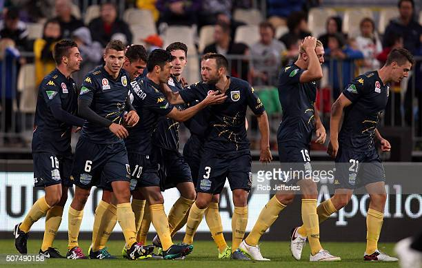 The Central Coast Mariners celebrate the goal of Luis Garcia during the round 17 ALeague match between the Wellington Phoenix and the Central Coast...