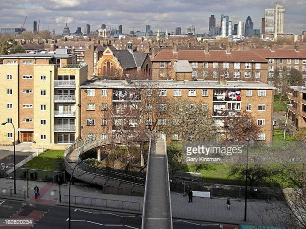 CONTENT] The Central London skyline as seen from the top floor of a block on the Heygate Estate South London 2007