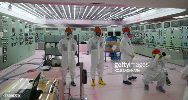 The central operating control room of the No 1 and No 2 reactors is opened to the media by Tokyo Electric Power Co at the crippled Fukushima Daiichi...
