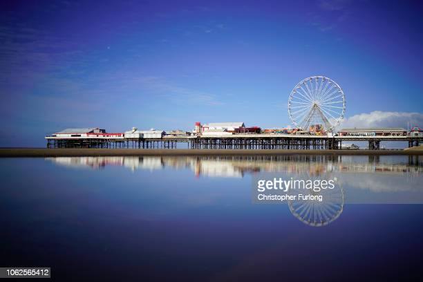 The Central Pier is bathed in sunlight on November 2 2018 in Blackpool England