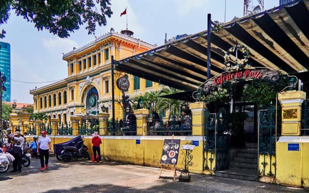The Central Post Office and the Café de la Poste in Ho Chi Minh.