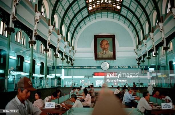 The central post office in Ho Chi Minh City On the wall there is still a picture of 'Uncle Ho' after whom the city was named It was design by French...