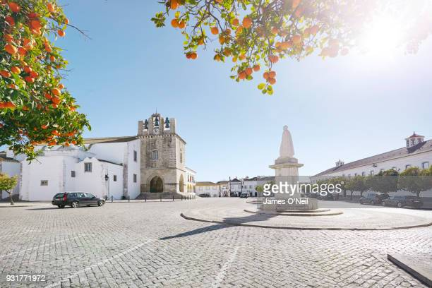 The central square with the Cathedral of Saint Mary in Faro, Algarve, Portugal