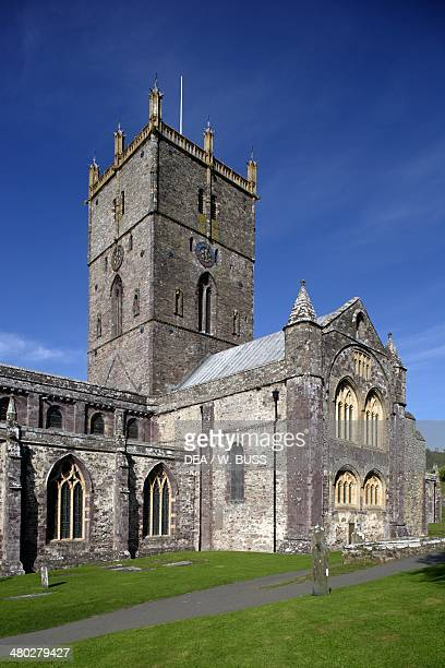 The central tower of St Davids cathedral founded in 1181 Saint Davids Wales United Kingdom