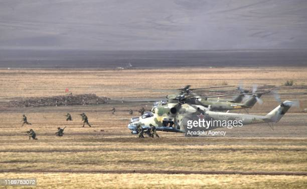 The Centre 2019 strategic military drill, held in Orenburg, Russia on September 20, 2019. Russian President Vladimir Putin and Kyrgyz President...