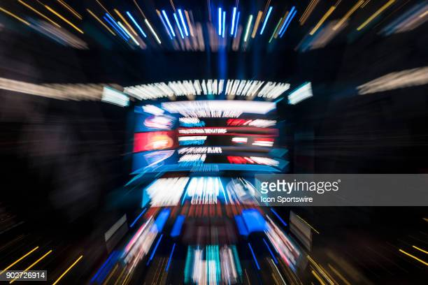 The centre ice scoreboard zoomed intentionally by the photographer as an abstract graphic before the regular season NHL game between the Vancouver...