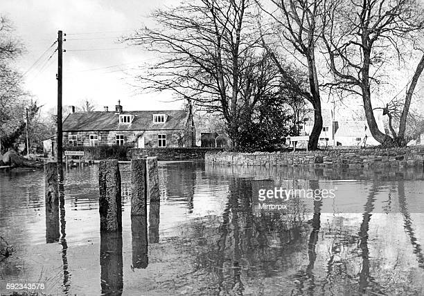 The centre of Ovingham, flooded after heavy overnight rain had forced up the level of the River Tyne in 1979