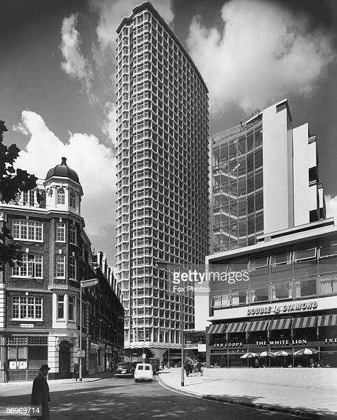 The Centre Point office block in central London as seen from Denmark Street 24th August 1966 The White Lion pub stands to the right