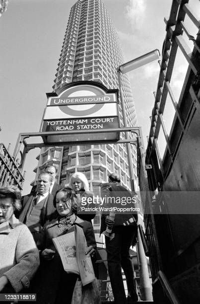 The Centre Point office block towering over the entrance to the Tottenham Court Road Tube station in central London, circa July 1969. From a series...