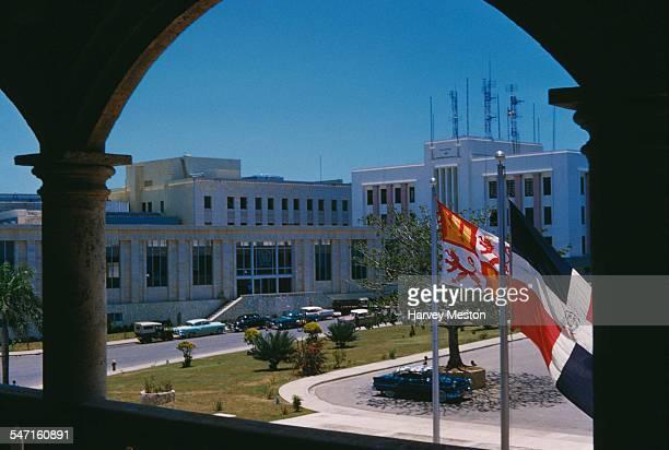 The Centro Cultural de las Telecomunicaciones as seen from the Alcazar De Colon or Columbus Alcazar in Ciudad Trujillo in the Dominican Republic 1960