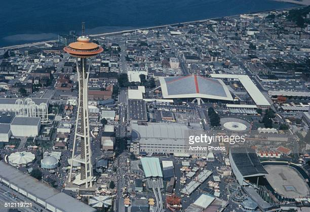The Century 21 Exposition in Seattle Washington State USA with the Space Needle to the left circa 1962 View from a helicopter