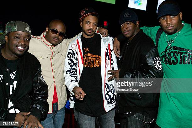 The CEO of Collipark record label Solja Boy Mr Collipark poses with Mr Hanky Swole and John Boy at the 2007 Billboard RB Hip Hop Awards show November...