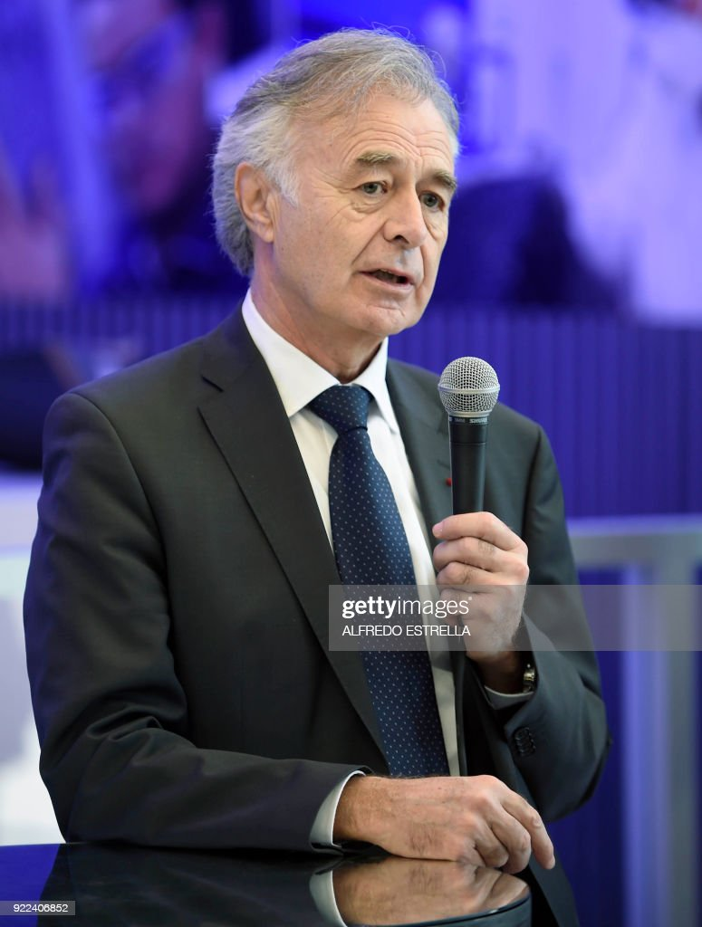 The CEO of French aerospace supplier Safran, Philippe Petitcolin, speaks during a press conference before the inauguration of the new turbine construction plant built by Safran and US-based Albany International Corp in Queretaro, Mexico on February 21, 2018. /