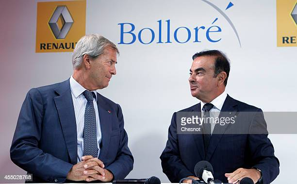 The CEO of French carmaker Renault Carlos Ghosn and French industrial group Bollore head Vincent Bollore give a press conference at the Atelier...