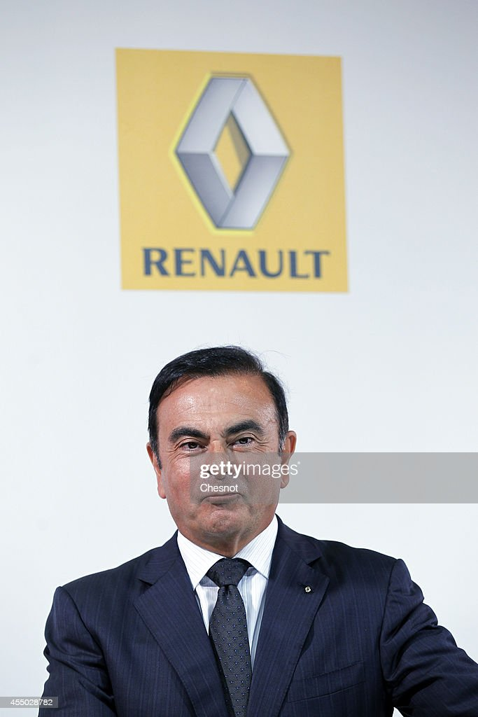 The CEO of French carmaker Renault, Carlos Ghosn attends a press conference with French industrial group Bollore head Vincent Bollore at the Atelier Renault on September 9, 2014, in Paris, France. Carlos Ghosn announced that Renault would manufacture in the northwestern French city of Dieppe the Bollore's Bluecar electric vehicle.