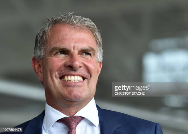 The CEO of German airline Lufthansa Carsten Spohr attends a naming ceremony of the tenth Lufthansa Airbus A350900 on July 30 2018 at the...