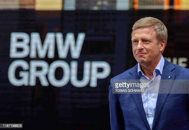 The CEO of German carmaker BMW Oliver Zipse attends a presentation at BMS's booth on September 10 during the press days of the International Auto...