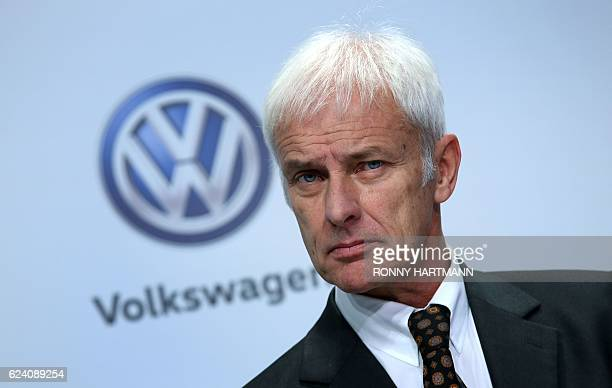 The CEO of German carmaker Volkswagen Matthias Mueller attends the company's press conference on November 18 2016 in Wolfsburg northern Germany...