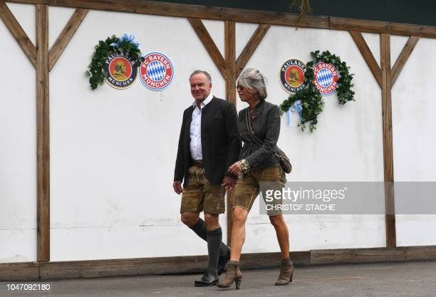 The CEO of German first division Bundesliga football club Bayern Munich Karl-Heinz Rummenigge and his wife Martina Rummenigge wear traditional...