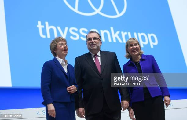 The CEO of German industrial conglomerate Thyssenkrupp Martina Merz , the chairwoman of the board of Trustees of the Alfried Krupp von Bohlen und...
