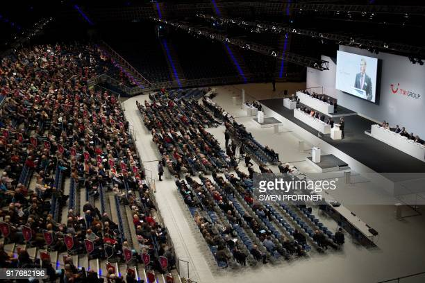 The CEO of German tourism giant TUI Friedrich Joussen speaks during the annual shareholders meeting on February 13 2018 in the northern town of...