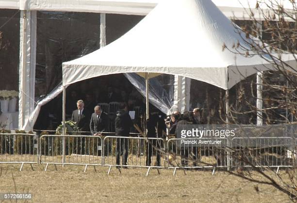 The CEO of Lufthansa Carsten Spohr and the former CEO of Germanwings Thomas Winkelmann during the commemoration ceremonie on March 24 2016 in Le...