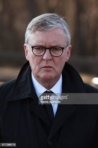 The CEO of Lufthansa Carsten Spohr attends the memorial ceremony for the victims of the Germanwings plane crash on March 24 2016 in Le Vernet...