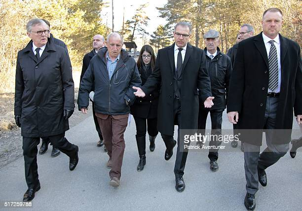 The CEO of Lufthansa Carsten Spohr the mayor of PradsHauteBleone and the former CEO of Germanwings Thomas Winkelmann during the memorial ceremony for...