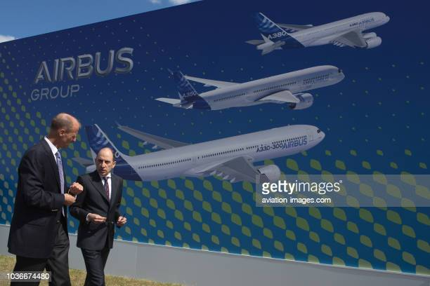 The CEO of Qatar Airways Akbar Al Baker and Tom Enders the CEO of Airbus Group chat at the Farnborough International Airshow UK