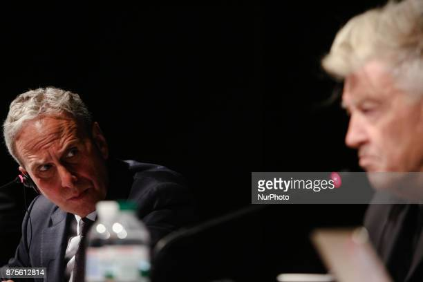 The CEO of the David Lynch Foundation Bob Roth and David Lynch are seen at the pressconference in Kyiv Ukraine Friday Nov 17 2017 Lynch announced the...