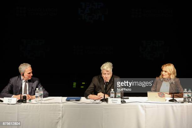 The CEO of the David Lynch Foundation Bob Roth US director David Lynch and CEO of Eastern Europe branch of David Lynch Foundation Olga Diakova are...