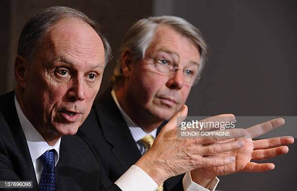 The CEO of the Union Wallone des Entreprises CEO Vincent Reuter and its President Jean-Pierre Delawart give a press conference and a New Year's...
