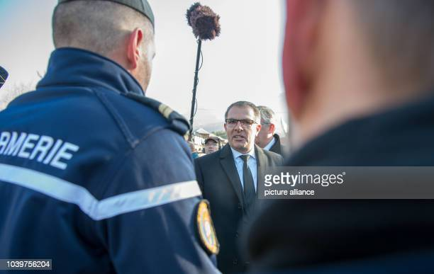 The CEOof Lufthansa Carsten Spohr thanks the police ahead of the memorial for the victims of the Germanwings flight 4U9525 plane crash in Le Vernet...