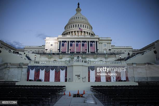 The ceremonial construction and preparations on the West Front of the US Capitol near completion just days before the 58th Inauguration Ceremony...